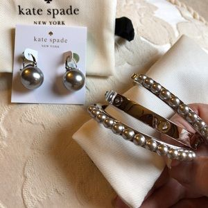 Kate spade silver pearl earrings & bracelets! L👀K